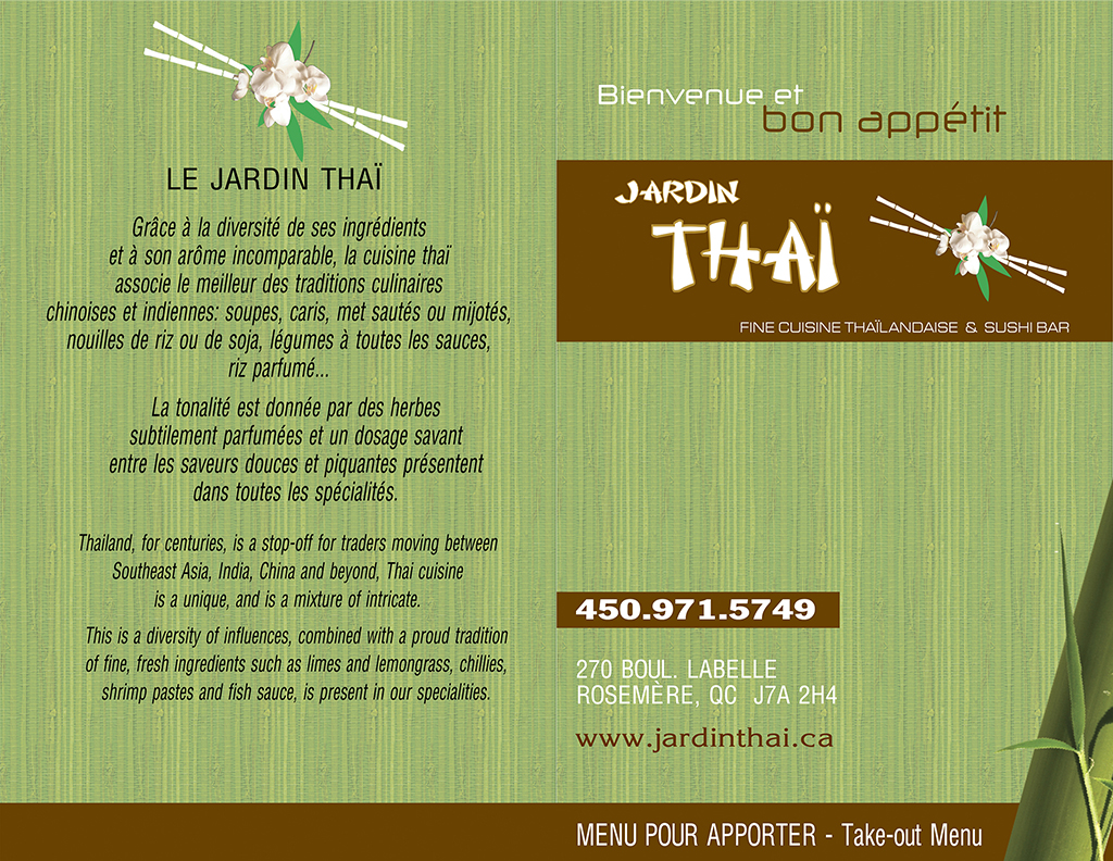 Ram Van Reservation >> Menu, apportez votre vin | Jardin Thaï